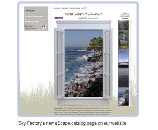 Sky Factory's new eScape catalog page on our website
