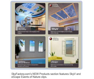 Sky Factory's NEW products section features SkyV and eScape Events of Nature clips