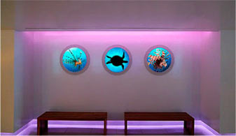 Custom 'porthole' Luminous Virtual Windows installed at the Sheraton Fort Lauderdale Beach Hotel in Ft. Lauderdale, FL