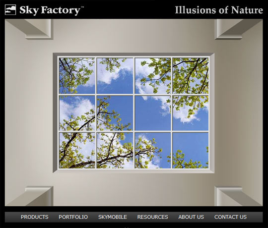 Screen capture of the new Sky Factory landing page - click to watch the introduction