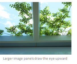 Larger image panels draw the eye upward