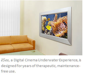 eSea Digital Cinema Underwater Experience, rendered in a waiting room