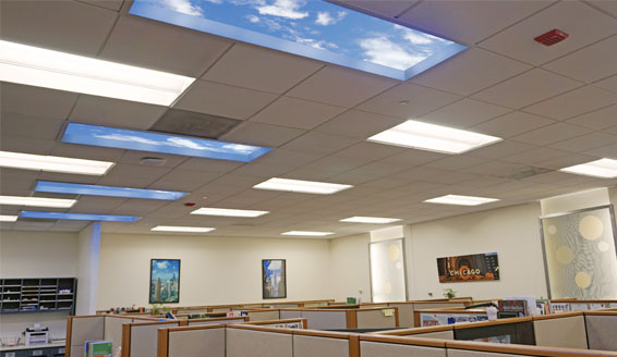Luminous SkyCeilings are designed in layers to create a therapeutic illusion of nature that occupants perceive as reassuring proximity to unencumbered, open sky.
