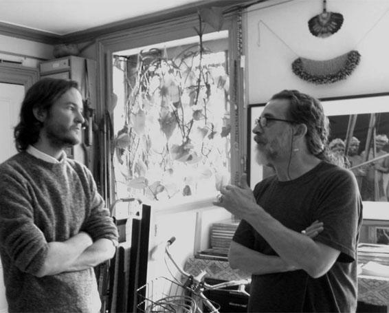 Skye Witherspoon and Valdir Cruz at the artist's studio.