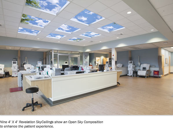 Nine 4' X 4' Revelation SkyCeilings show an Open Sky Composition to enhance the patient experience