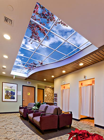 Custom Luminous SkyCeiling in the dressing area of the Women's Imaging Center.