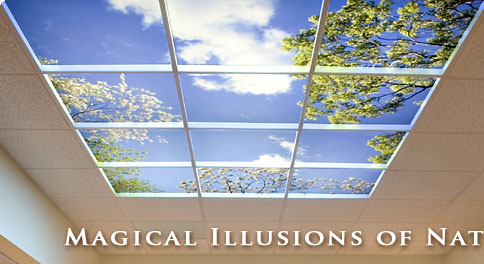 The Sky Factory custom ceiling art uses ceiling tiles to create indoor sky :  home garden sky cool sky ceiling